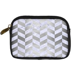 Chevron1 White Marble & Silver Brushed Metal Digital Camera Cases by trendistuff