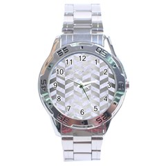 Chevron1 White Marble & Silver Brushed Metal Stainless Steel Analogue Watch by trendistuff