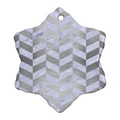 Chevron1 White Marble & Silver Brushed Metal Ornament (snowflake) by trendistuff