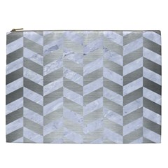 Chevron1 White Marble & Silver Brushed Metal Cosmetic Bag (xxl)  by trendistuff