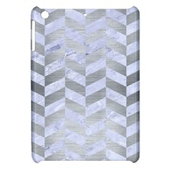 Chevron1 White Marble & Silver Brushed Metal Apple Ipad Mini Hardshell Case by trendistuff