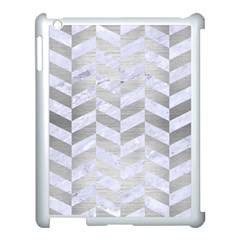 Chevron1 White Marble & Silver Brushed Metal Apple Ipad 3/4 Case (white) by trendistuff