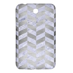 Chevron1 White Marble & Silver Brushed Metal Samsung Galaxy Tab 3 (7 ) P3200 Hardshell Case  by trendistuff