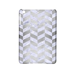 Chevron1 White Marble & Silver Brushed Metal Ipad Mini 2 Hardshell Cases by trendistuff