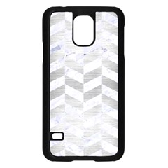 Chevron1 White Marble & Silver Brushed Metal Samsung Galaxy S5 Case (black) by trendistuff