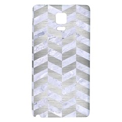 Chevron1 White Marble & Silver Brushed Metal Galaxy Note 4 Back Case by trendistuff