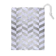 Chevron1 White Marble & Silver Brushed Metal Drawstring Pouches (extra Large) by trendistuff