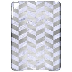 Chevron1 White Marble & Silver Brushed Metal Apple Ipad Pro 9 7   Hardshell Case by trendistuff
