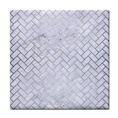Brick2 White Marble & Silver Brushed Metal (r) Tile Coasters by trendistuff