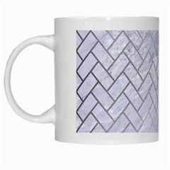 Brick2 White Marble & Silver Brushed Metal (r) White Mugs by trendistuff