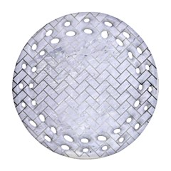 Brick2 White Marble & Silver Brushed Metal (r) Ornament (round Filigree) by trendistuff