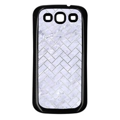 Brick2 White Marble & Silver Brushed Metal (r) Samsung Galaxy S3 Back Case (black) by trendistuff