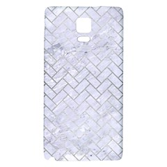 Brick2 White Marble & Silver Brushed Metal (r) Galaxy Note 4 Back Case by trendistuff
