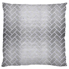 Brick2 White Marble & Silver Brushed Metal Large Cushion Case (two Sides) by trendistuff