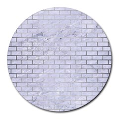Brick1 White Marble & Silver Brushed Metal (r) Round Mousepads by trendistuff