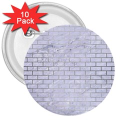 Brick1 White Marble & Silver Brushed Metal (r) 3  Buttons (10 Pack)  by trendistuff