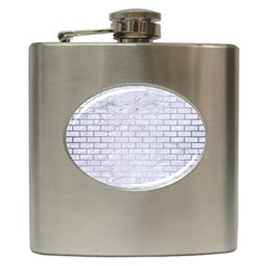 Brick1 White Marble & Silver Brushed Metal (r) Hip Flask (6 Oz) by trendistuff