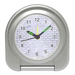 BRICK1 WHITE MARBLE & SILVER BRUSHED METAL (R) Travel Alarm Clocks Front