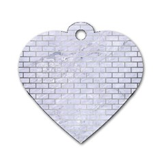 Brick1 White Marble & Silver Brushed Metal (r) Dog Tag Heart (one Side)
