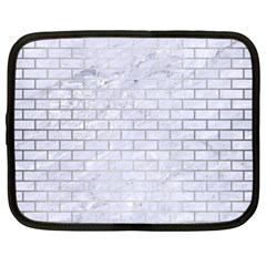 Brick1 White Marble & Silver Brushed Metal (r) Netbook Case (xl)  by trendistuff