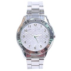 Brick1 White Marble & Silver Brushed Metal (r) Stainless Steel Analogue Watch by trendistuff