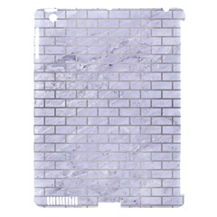 Brick1 White Marble & Silver Brushed Metal (r) Apple Ipad 3/4 Hardshell Case (compatible With Smart Cover) by trendistuff