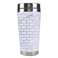 Brick1 White Marble & Silver Brushed Metal (r) Stainless Steel Travel Tumblers by trendistuff
