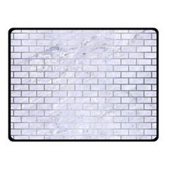 Brick1 White Marble & Silver Brushed Metal (r) Double Sided Fleece Blanket (small)  by trendistuff