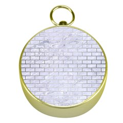 Brick1 White Marble & Silver Brushed Metal (r) Gold Compasses by trendistuff