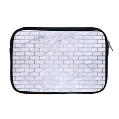 Brick1 White Marble & Silver Brushed Metal (r) Apple Macbook Pro 17  Zipper Case by trendistuff