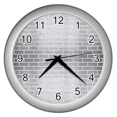 Brick1 White Marble & Silver Brushed Metal Wall Clocks (silver)  by trendistuff