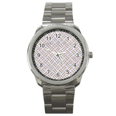 Woven2 White Marble & Sand (r) Sport Metal Watch by trendistuff
