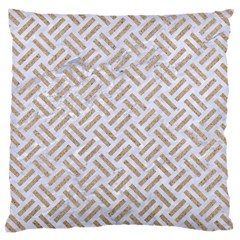 Woven2 White Marble & Sand (r) Large Cushion Case (two Sides) by trendistuff