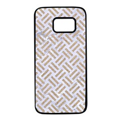 Woven2 White Marble & Sand (r) Samsung Galaxy S7 Black Seamless Case by trendistuff