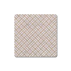 Woven2 White Marble & Sand Square Magnet by trendistuff