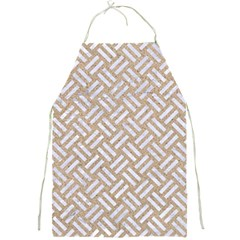 Woven2 White Marble & Sand Full Print Aprons by trendistuff