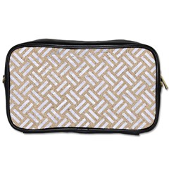 Woven2 White Marble & Sand Toiletries Bags by trendistuff