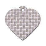 WOVEN1 WHITE MARBLE & SAND (R)Woven1 White Marble & Sand (r) Dog Tag Heart (One Side) Front