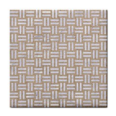 Woven1 White Marble & Sand Tile Coasters by trendistuff