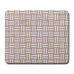Woven1 White Marble & Sand Large Mousepads by trendistuff