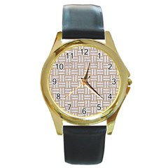 Woven1 White Marble & Sand Round Gold Metal Watch by trendistuff