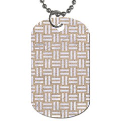 Woven1 White Marble & Sand Dog Tag (one Side) by trendistuff