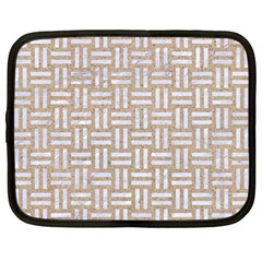Woven1 White Marble & Sand Netbook Case (large)