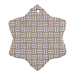 Woven1 White Marble & Sand Ornament (snowflake) by trendistuff