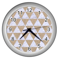 Triangle3 White Marble & Sand Wall Clocks (silver)  by trendistuff