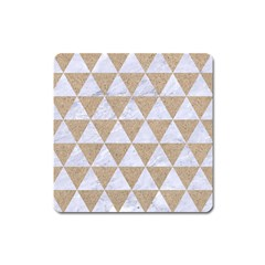Triangle3 White Marble & Sand Square Magnet by trendistuff