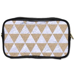 Triangle3 White Marble & Sand Toiletries Bags by trendistuff