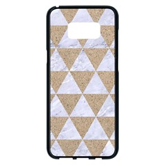 Triangle3 White Marble & Sand Samsung Galaxy S8 Plus Black Seamless Case by trendistuff
