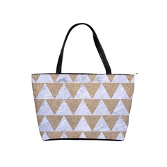 Triangle2 White Marble & Sand Shoulder Handbags by trendistuff