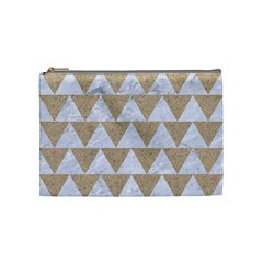 Triangle2 White Marble & Sand Cosmetic Bag (medium)  by trendistuff